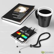 Керамическая кружка, книга и блокнот 3d model
