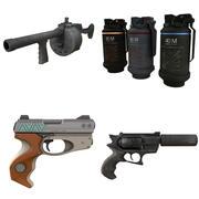 Pack_1銃+手榴弾 3d model