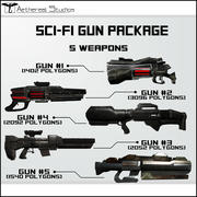 Sci-Fi Gun-pakket 3d model