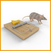 piège à souris avec souris 3d model