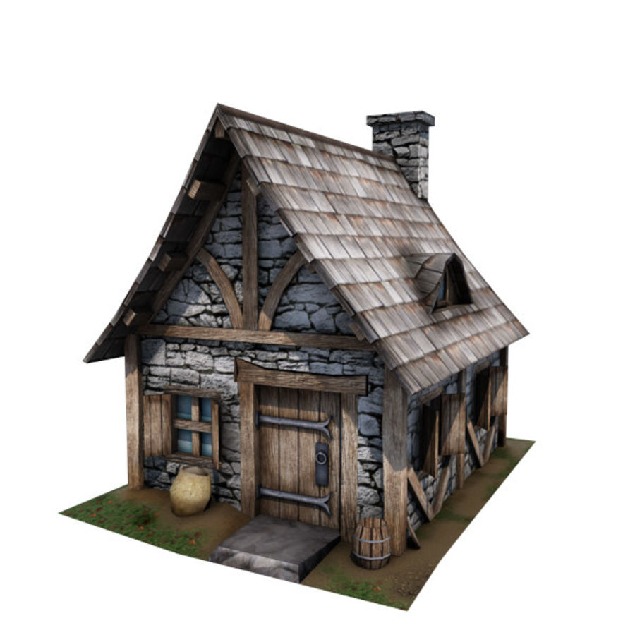 中世纪建筑08小屋 royalty-free 3d model - Preview no. 1