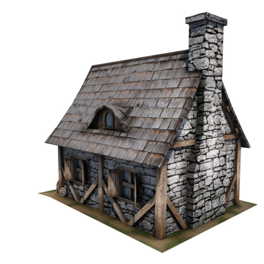 中世纪建筑08小屋 royalty-free 3d model - Preview no. 12
