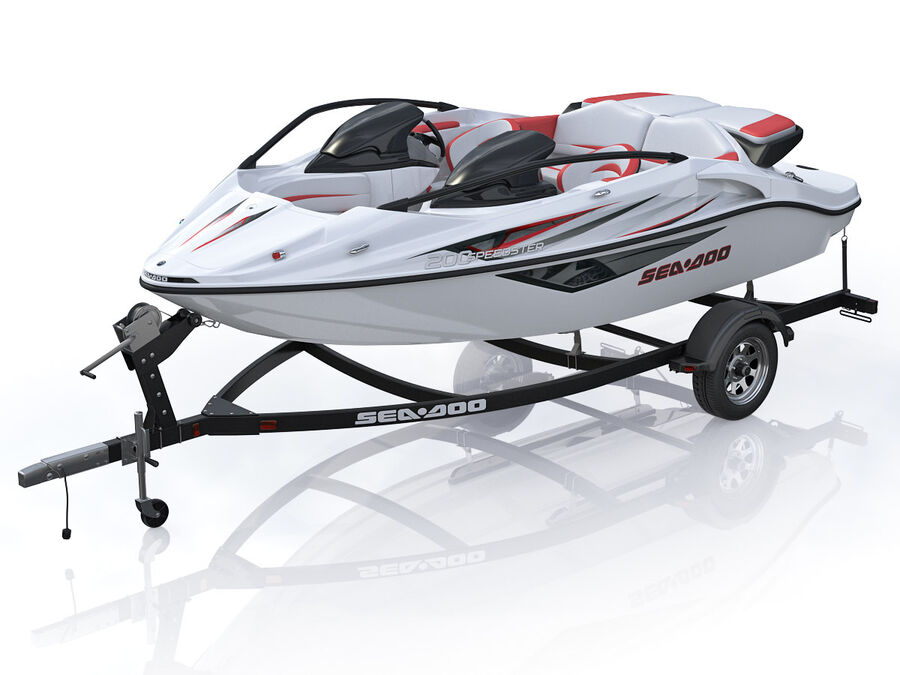 SEA-DOO Speedster 200 and trailer royalty-free 3d model - Preview no. 2