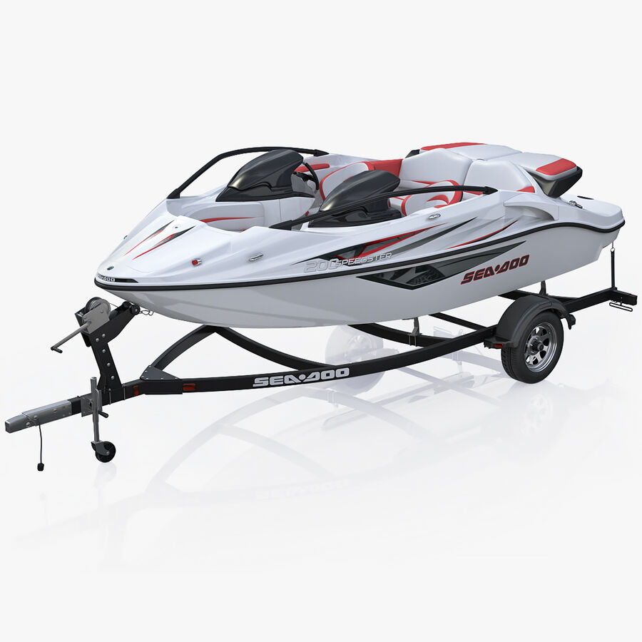 SEA-DOO Speedster 200 and trailer royalty-free 3d model - Preview no. 1