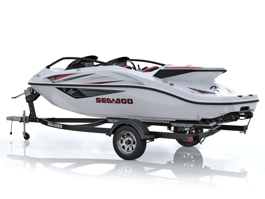 SEA-DOO Speedster 200 and trailer royalty-free 3d model - Preview no. 4