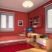 Dormitorio y estudio de lujo para adolescentes modelo 3d
