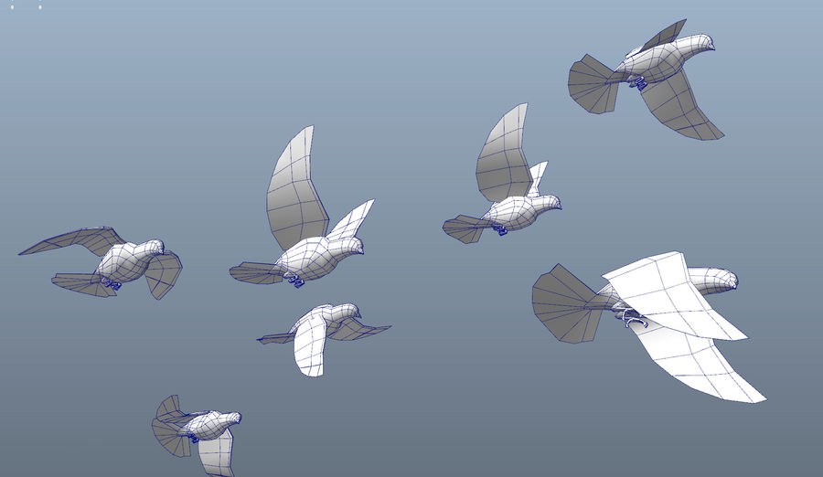 Pigeons royalty-free 3d model - Preview no. 15