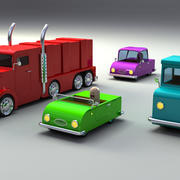 Rigged Toy vehicles 3d model