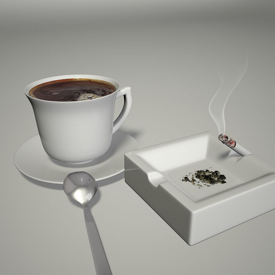 Kahve ve Sigara royalty-free 3d model - Preview no. 2