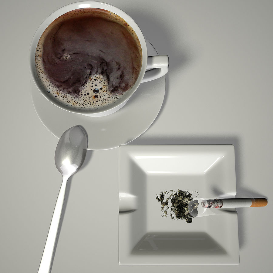 Kahve ve Sigara royalty-free 3d model - Preview no. 6