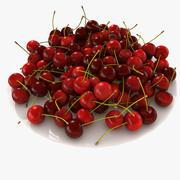 Piatto singolo di frutta ciliegia 3d model