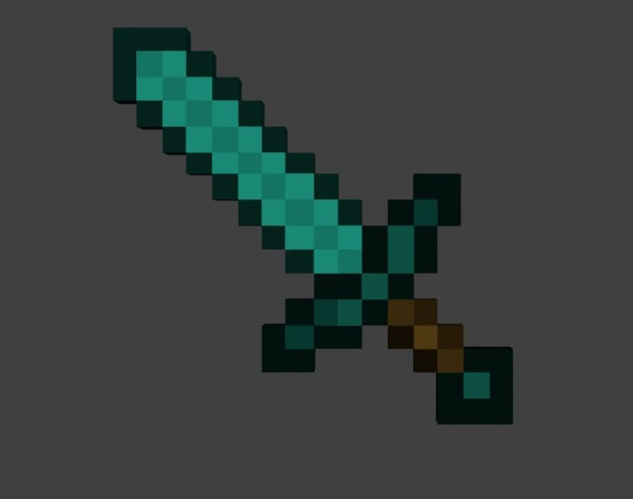 Minecraft Diamond Sword royalty-free 3d model - Preview no. 4