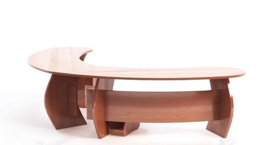 Zakrzywione biurko biurowe royalty-free 3d model - Preview no. 3