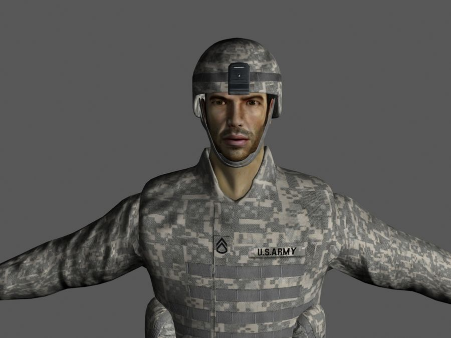 Us soldier V2 royalty-free 3d model - Preview no. 2