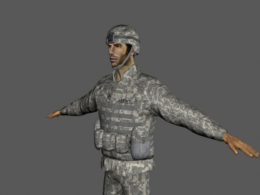 Us soldier V2 royalty-free 3d model - Preview no. 5