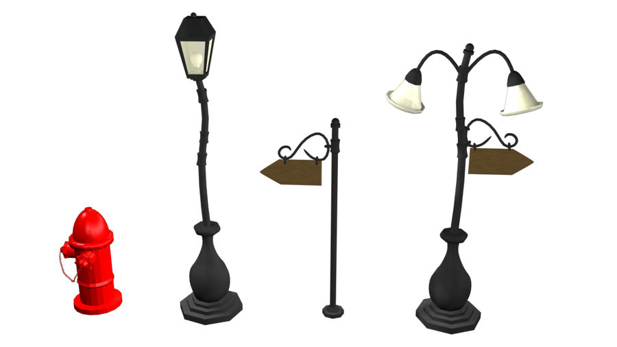 Cartoon Street Lamps royalty-free 3d model - Preview no. 3