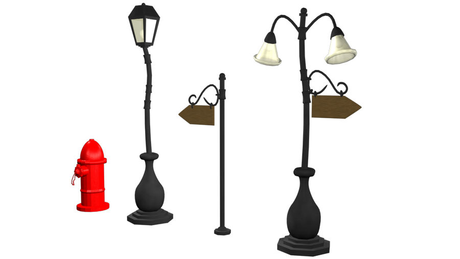 Cartoon Street Lamps royalty-free 3d model - Preview no. 2