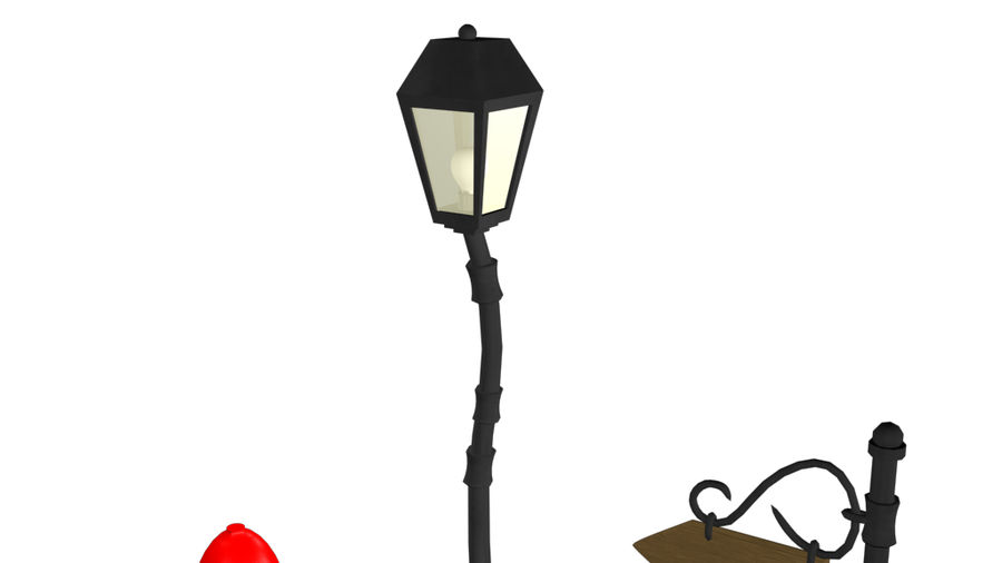 Cartoon Street Lamps royalty-free 3d model - Preview no. 7