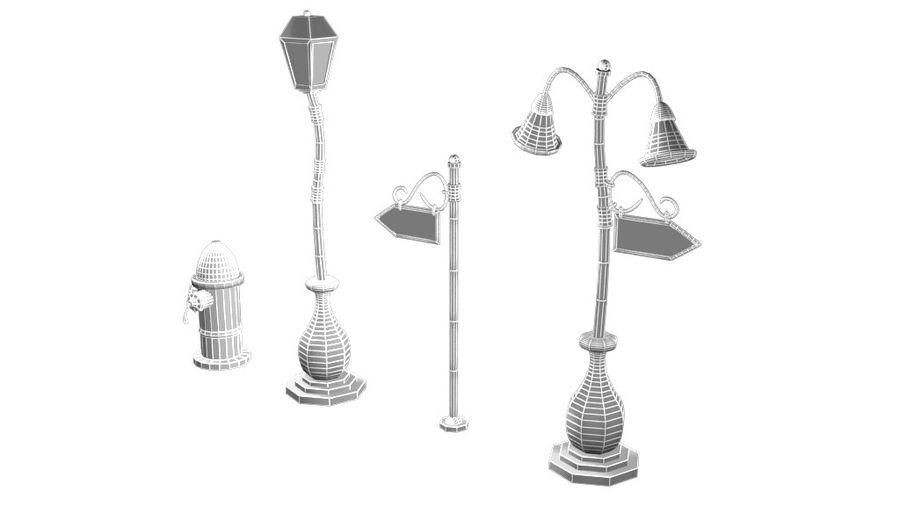 Lampy uliczne z kreskówek royalty-free 3d model - Preview no. 7