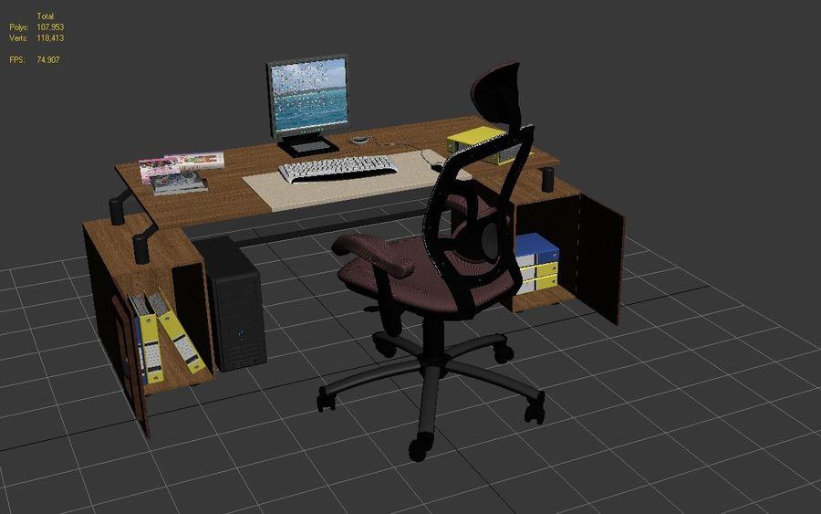 Escritorio de oficina y silla con accesorios royalty-free modelo 3d - Preview no. 8