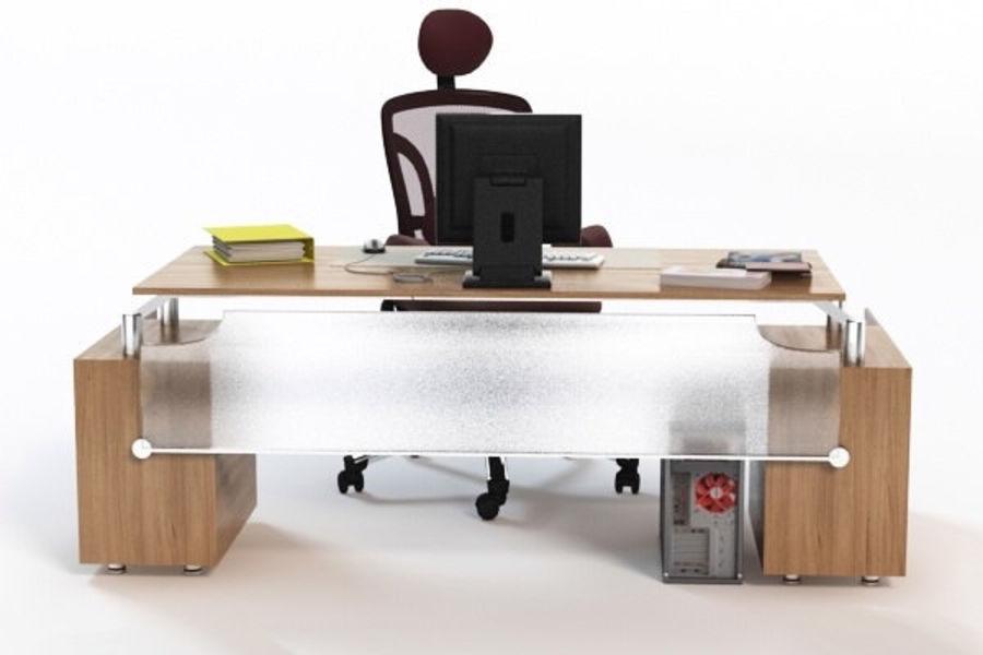 Escritorio de oficina y silla con accesorios royalty-free modelo 3d - Preview no. 5