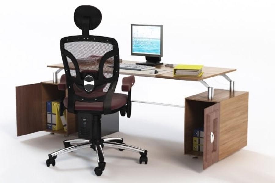 Escritorio de oficina y silla con accesorios royalty-free modelo 3d - Preview no. 4