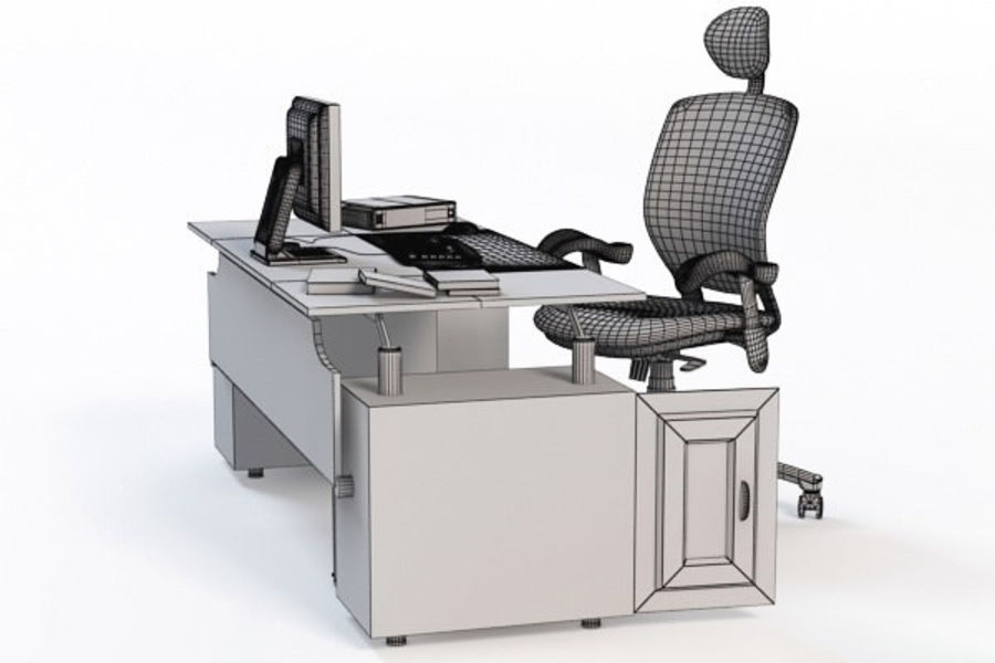 Escritorio de oficina y silla con accesorios royalty-free modelo 3d - Preview no. 7