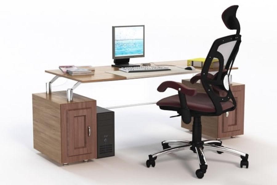 Escritorio de oficina y silla con accesorios royalty-free modelo 3d - Preview no. 2