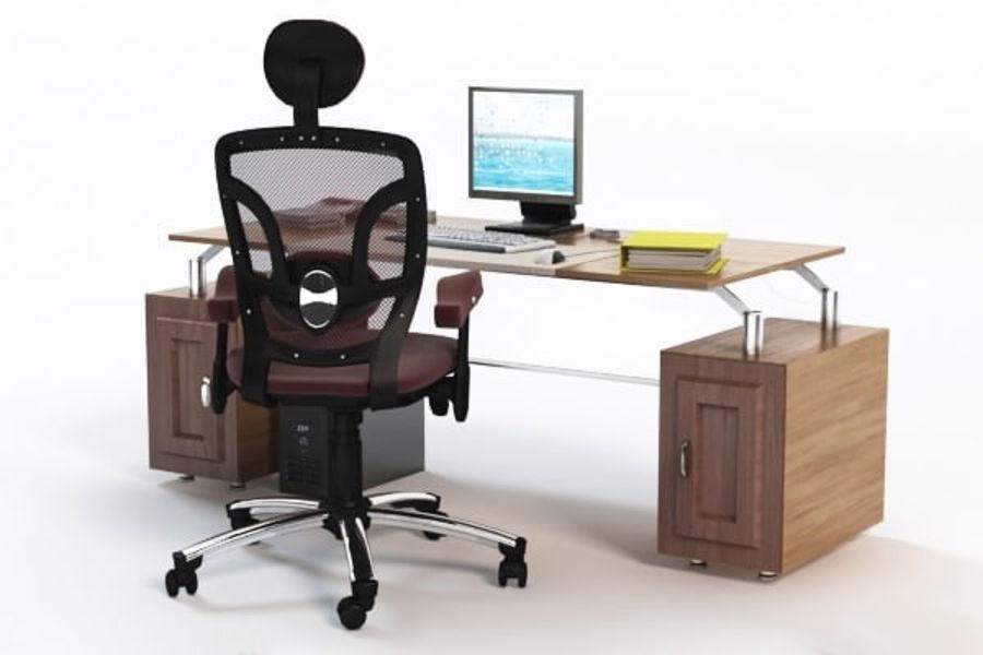 Escritorio de oficina y silla con accesorios royalty-free modelo 3d - Preview no. 3