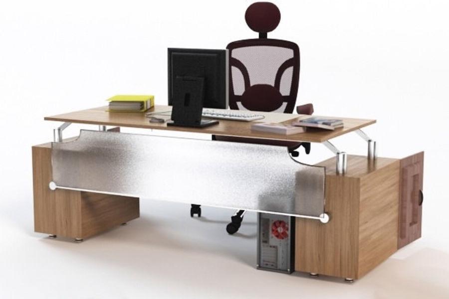 Escritorio de oficina y silla con accesorios royalty-free modelo 3d - Preview no. 6