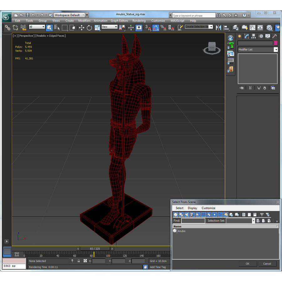 Estatua de anubis royalty-free modelo 3d - Preview no. 33