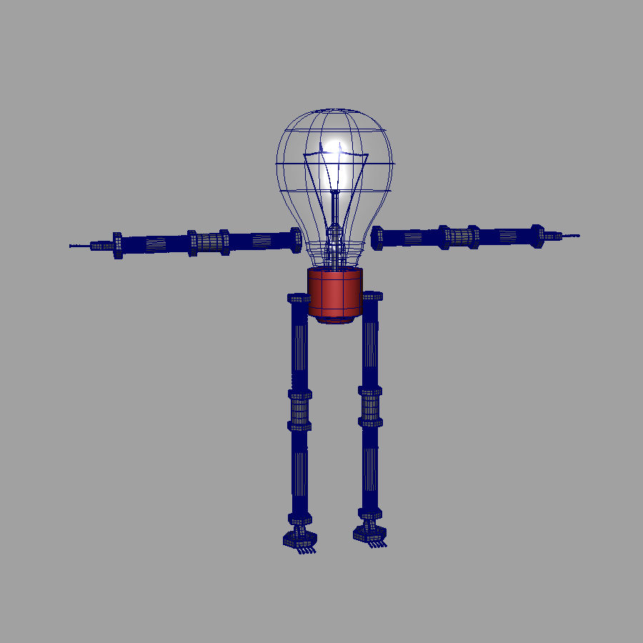 Light Bulb Robot royalty-free 3d model - Preview no. 8