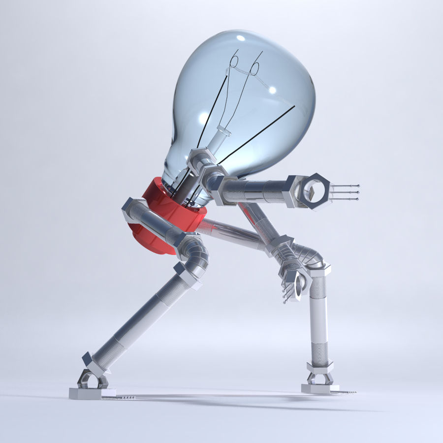 Light Bulb Robot royalty-free 3d model - Preview no. 1