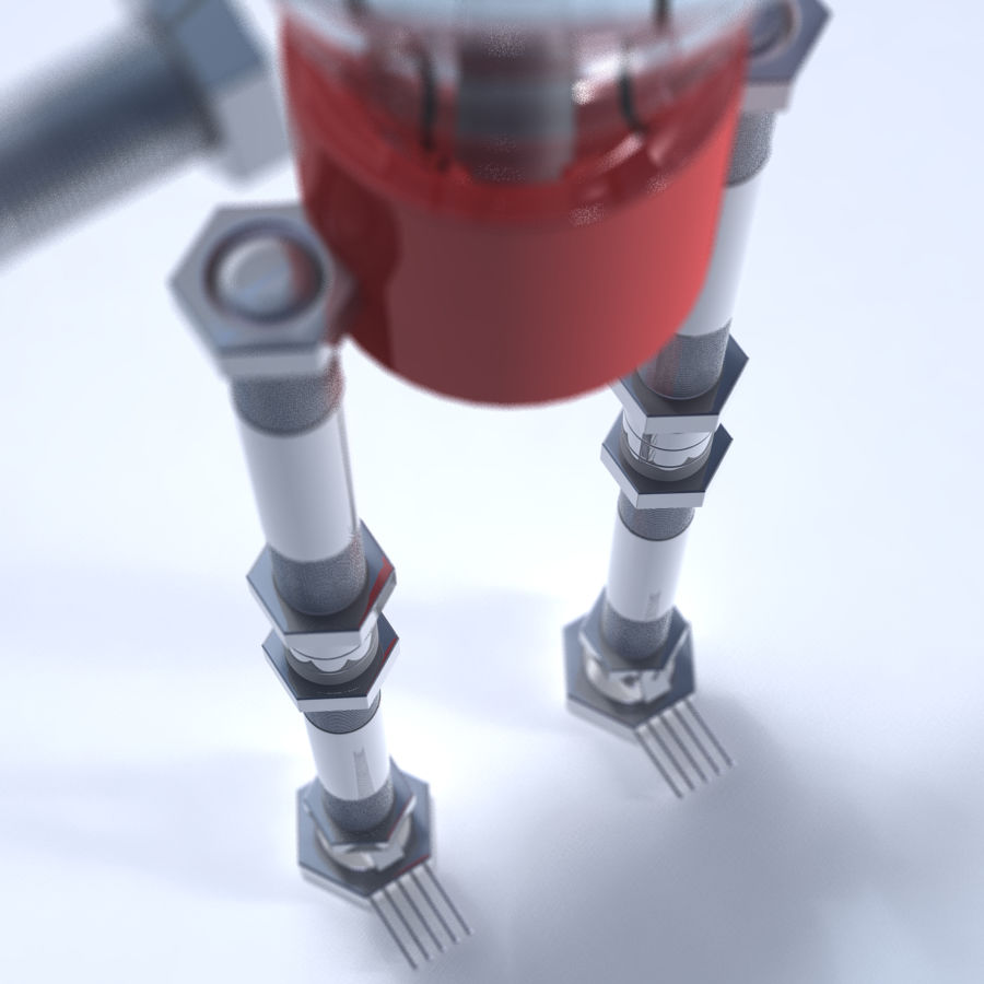 Light Bulb Robot royalty-free 3d model - Preview no. 3