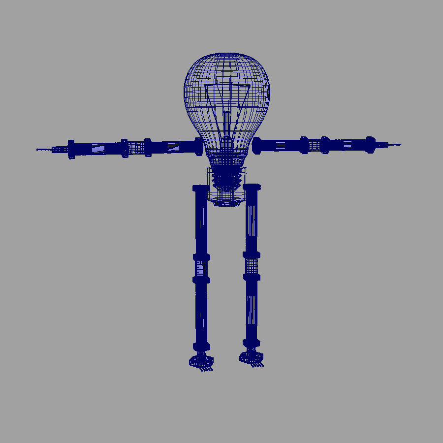 Light Bulb Robot royalty-free 3d model - Preview no. 7