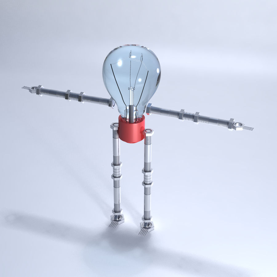 Light Bulb Robot royalty-free 3d model - Preview no. 2