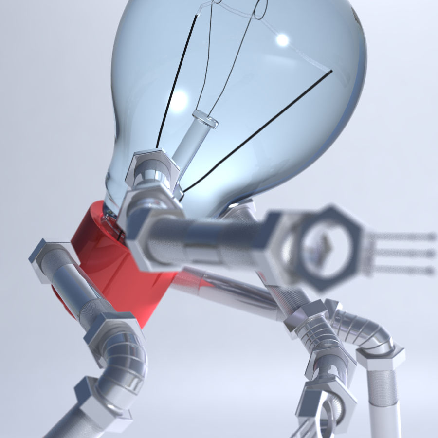 Light Bulb Robot royalty-free 3d model - Preview no. 4