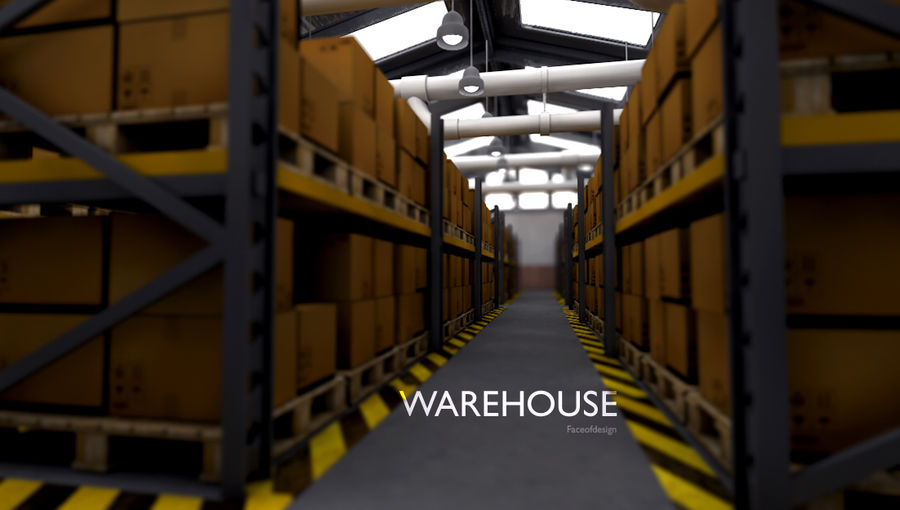 Warehouse royalty-free 3d model - Preview no. 4