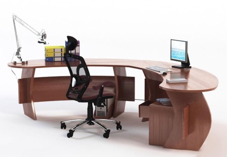 Escritorio De Oficina Con Silla Y Accesorios 4 Modelo 3d 35