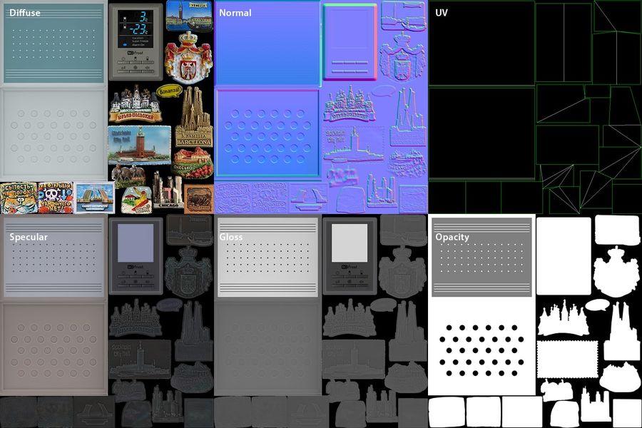 冷蔵庫のゲーム準備 royalty-free 3d model - Preview no. 2