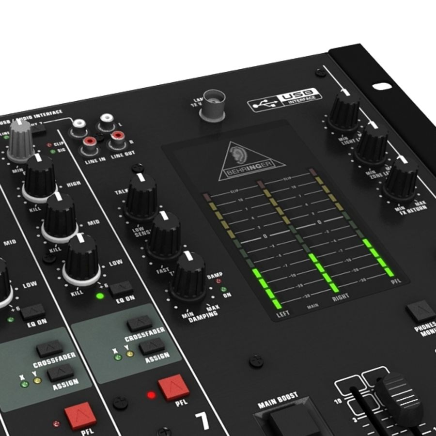 Behringer Dx 2000 Audio DJ Mixer royalty-free 3d model - Preview no. 3
