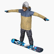 Snowboarder Gameready Character 3d model