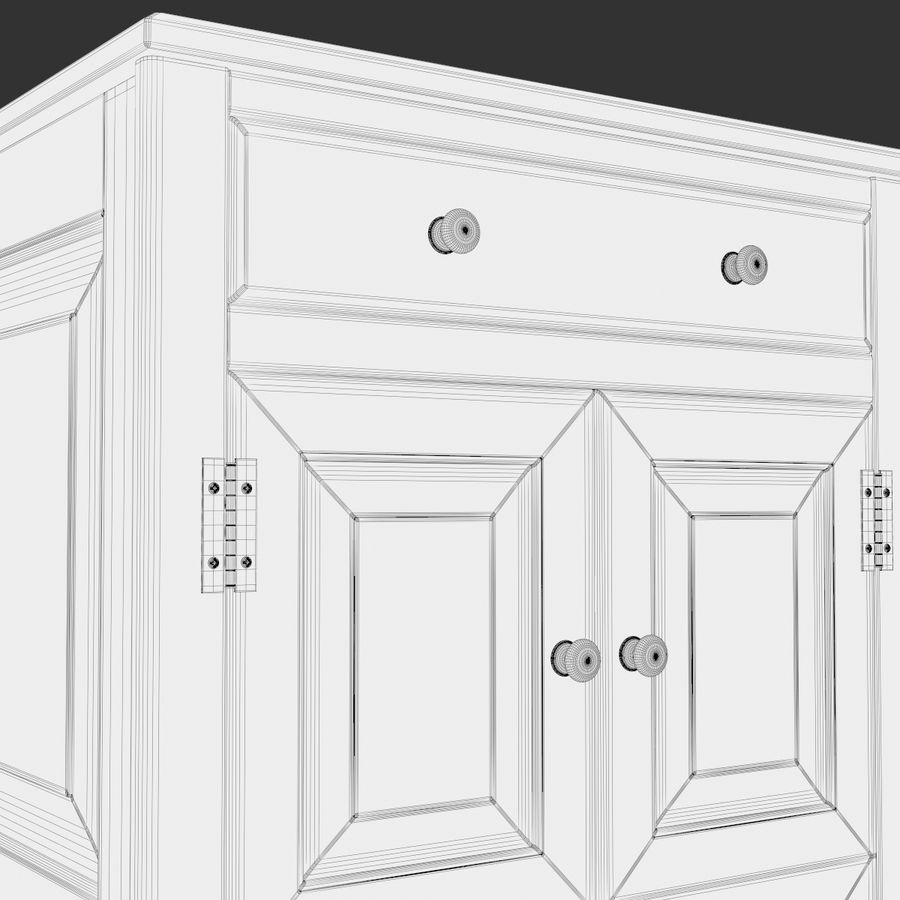 Wooden Cabinet royalty-free 3d model - Preview no. 12