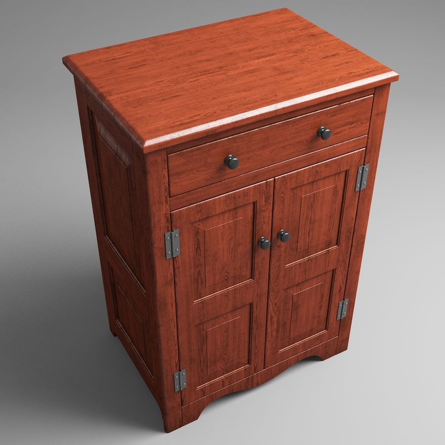 Wooden Cabinet royalty-free 3d model - Preview no. 4