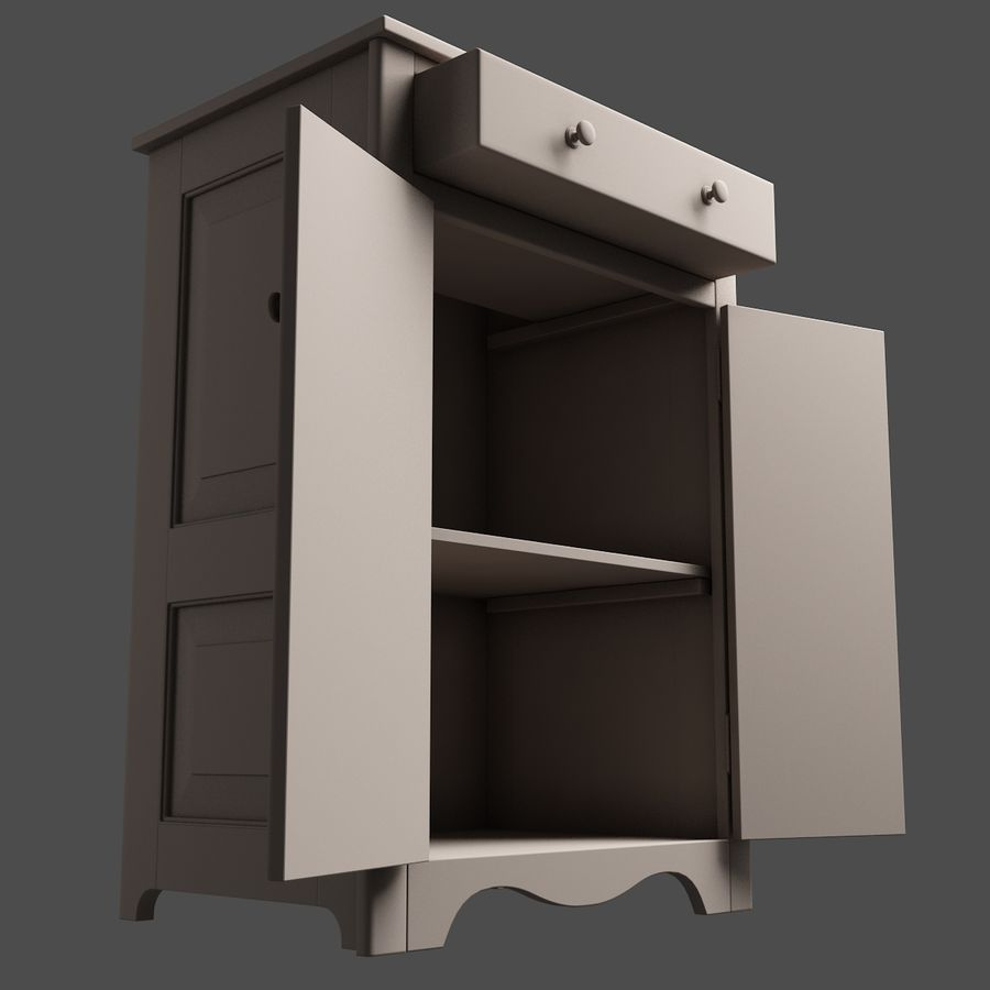 Wooden Cabinet royalty-free 3d model - Preview no. 9
