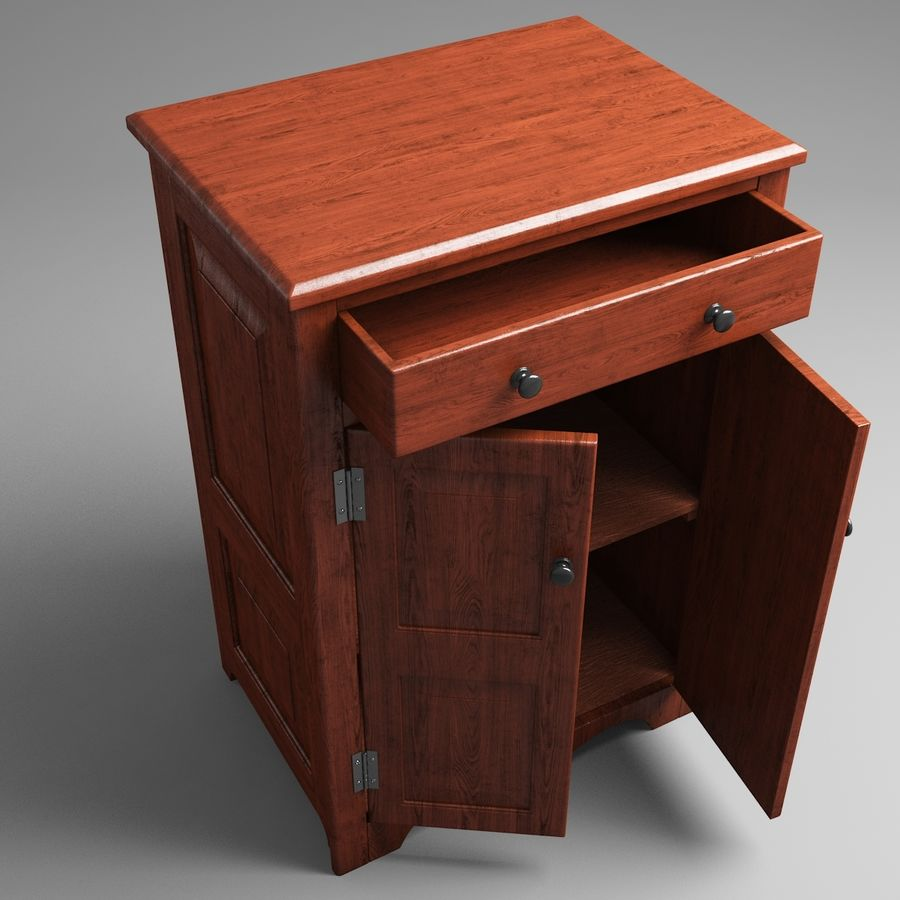 Wooden Cabinet royalty-free 3d model - Preview no. 5