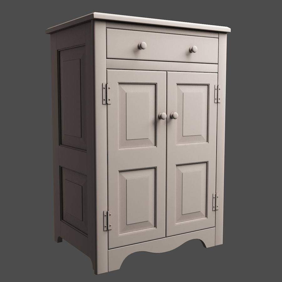 Wooden Cabinet royalty-free 3d model - Preview no. 8