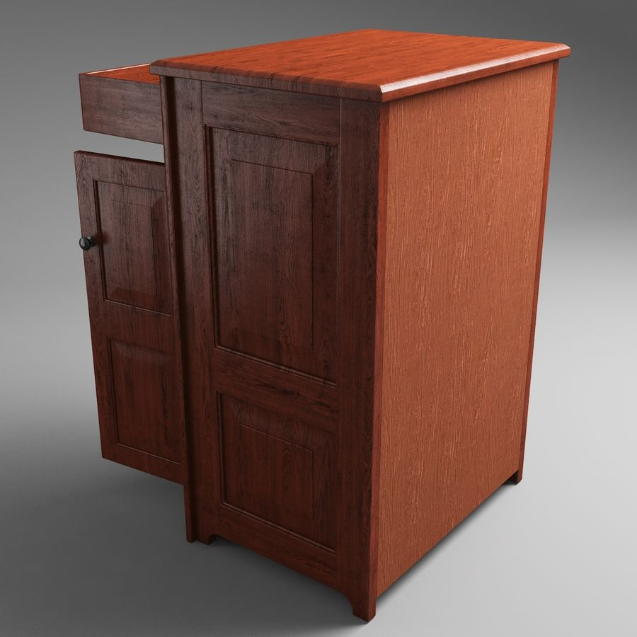 Wooden Cabinet royalty-free 3d model - Preview no. 6