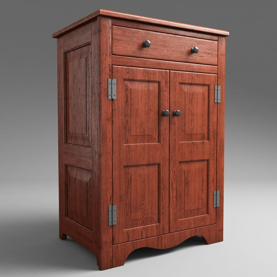 Wooden Cabinet royalty-free 3d model - Preview no. 2