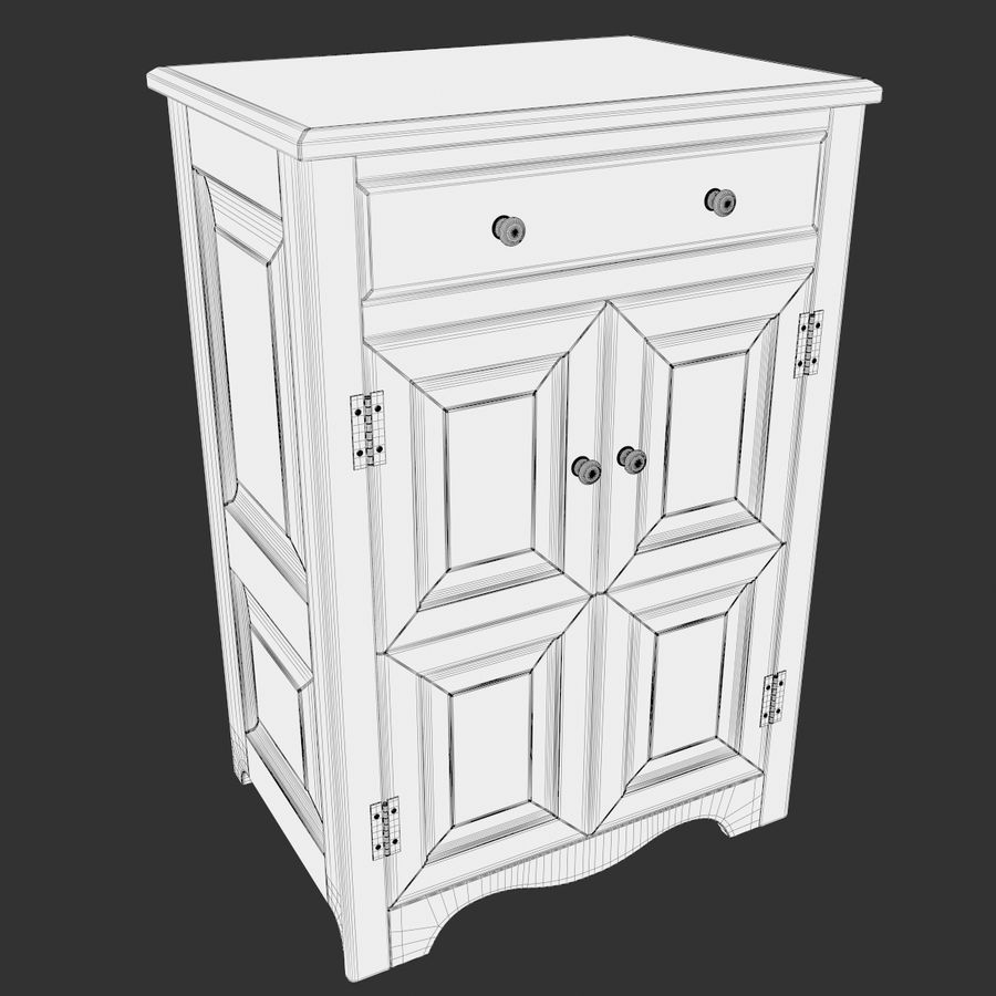 Wooden Cabinet royalty-free 3d model - Preview no. 10